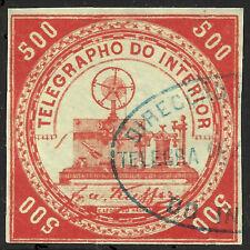 Brazil Telegraph stamp RH4, used, blue oval cancel, 1873