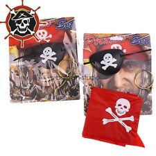 Pirate set of 3 Fancy Dress Skull Eye Patch Hook Earrings Head Scarf Costume Set