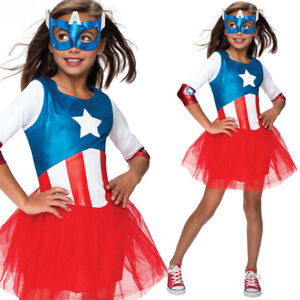 Girls Captain America Dress Costume