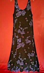 Jostar Long Dress Size XL Black w/ Purple Flowers Sleeveless
