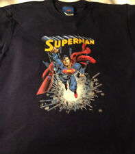 T-Shirt Superman boys size 8-10 new 100% cotton navy blue short sleeves