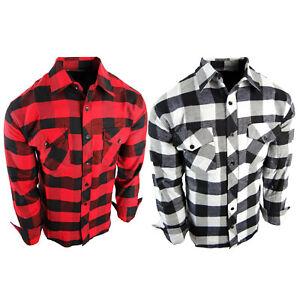 Flannel Plaid Shirt Mens Pockets Black Red White Big Check Long Sleeve True Fit