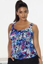 NEW! AQUABELLE SZ 16 CHLORINE RESISITANT TANKINI TOP WITH SIDE TIES/RUCHING