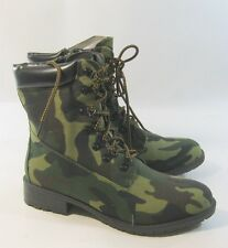 """Womens Green Camo 1.5"""" Low Block Heel Combat Lace Up Sexy Ankle Boot Size 8"""