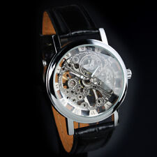 Mens Watch Automatic Silver Case Leather Skeleton Analog Luminous Dial Luxury