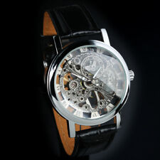 Hand Winding Mechanical Wrist Watch Silver Skeleton Black Leather  Mens