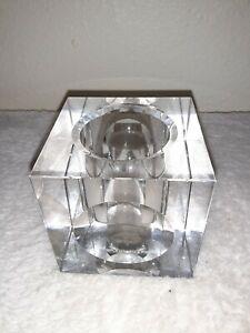 Clear Cut Crystal Table Tea Light Holder Oleg Cassini Signature