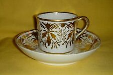 QUALITY ANTIQUE COFFEE CAN & SAUCER FINE GOLD GILDING - DERBY / NEWHALL / SPODE?