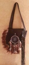 Brown Leather Feather Native American Tribal Festival Dreamcatcher Crossbody Bag