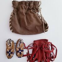 Vintage Lot Native American Suede Leather Tobacco Pouch Medicine Bag baby Shoes