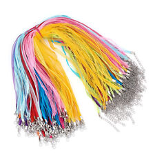 """100 Strds Colorful Multi-Strand Waxed Cord Necklaces Bases Organza Ribbon 17.7"""""""