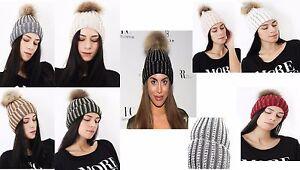 Womens Ladies Diamante Diamond  Fur Pom Pom Beanie Winter Hat Celeb One Size