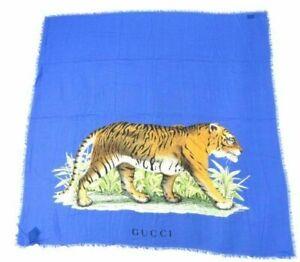 GUCCI Stole Scarf Shawl Bengal Tiger Blue Animal Woman Auth Unused Rare 130 cm