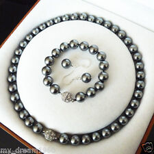 Natural 10mm Black Shell Pearl Fashion Bracelet & Earring Necklace Jewelry Set