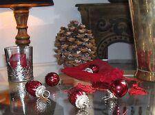 5 kleine Weihnachtskugeln Glas im Chiffon-Säckchen Bauernsilber rot Shabby