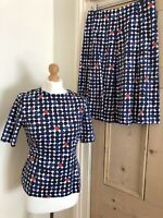 Ladies Fenn Wright & Manson Top And Skirt Set Dress Navy White Spot Size S 10 Uk