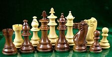 "FLEUR-DE-LIS SHEESHAM WOOD CHESS PIECES - DOUBLE WEIGHTED - 3 3/4"" KING"