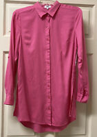 Crown & Ivy Collared Button Up Long Sleeve S Tunic Tailored Shirt Pink POP NWT