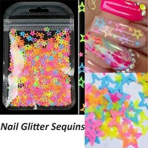 Mixing Hollow Out Glitter Flakes Neon Star Nail Sequins 3D Nail Decoration