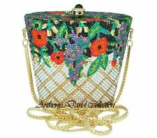 Anthony David Black, Red & Gold Floral Crystal Evening Bag w/ Swarovski Crystals