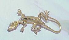 14k Solid Yellow Gold Gecko Lizard Diamond Cut Body Vintage Suit Pin 3.6 Grams