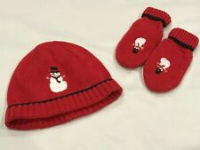 JANIE AND JACK *SNOWMAN LANE* RED SNOWMAN HAT & MITTENS SIZE 2T-3