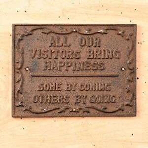 Cast Iron Visitor Sign Plaque Wall Mount Rustic Brown