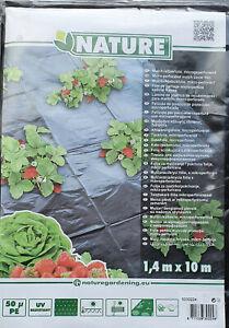 Nature Mulch-/Abdeckfolie Für Erdbeeren 1,4 m x 10m Mulchfolie 50µ PE