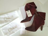NWB CHLOE Kole Lace-Up Leather boots  Red/burgundy suede and leather size 39