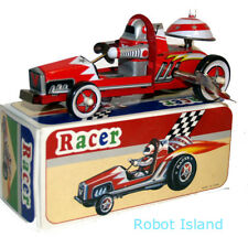 Robot Racer Tin Toy Car Windup with Clanging Bell - Red Edition
