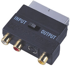 SCART To 3 RCA Composite Phono + SVHS S-Video Adaptor + In / Out Switch