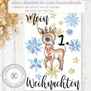 ✿ Süßes Bügelbild Reh ✿ Mein erstes Weihnachten ✿ Baby Geschenk Din A4 / A5 ✿