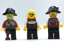 LEGO NEW PIRATE MINIFIGURES 3 PIRATES WITH HATS MALE AND FEMALE FIGURES