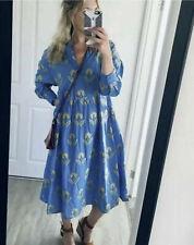 Zara Blue Yellow Embroidered Voluminous Dress Midi Pleated Bloggers Fav XS £59.9