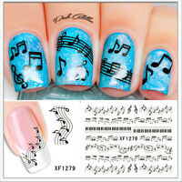 Salon Quality! - Black Musical Notes Piano Nail Art Waterslide Decals Transfer