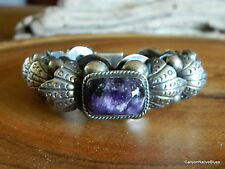CHUNKY Vintage Sterling Silver AMETHYST Mexican Link Bracelet Mexico FREE SHIP