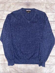 Kirkland Signature Mens Sweater XL 100% Cashmere V Neck Blue
