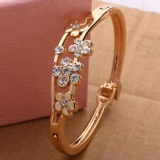 Fashion Women Ladies Girls Gold Plated Flower Crystal Cuff Bangle Charm Bracelet