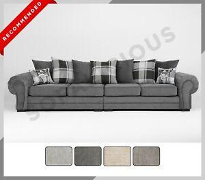 NEW Chesterfield VERONA 4 Seater Sofa Fabric Grey Cream Mocha Scatter Back