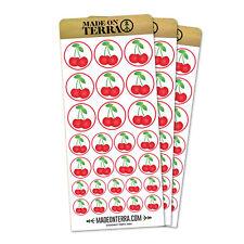 Cherries on White Removable Matte Sticker Sheets Set