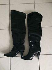 Lack Stiefel schwarz Absatz Sexy 36 37