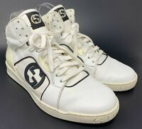 Authentic GUCCI GG Interlocking Logo High Sneakers #8 US 9 White Leather