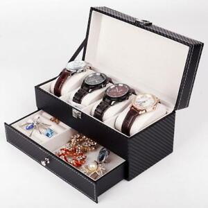 Double Layer PU Leather 4 Grid Watch Box Jewelry Ring Storage Case Organizer Box