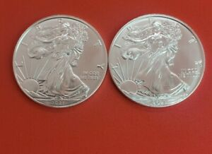 2021 (2coins) $1 American Silver Eagle 1oz Coin (straight out Us Mint rolls)