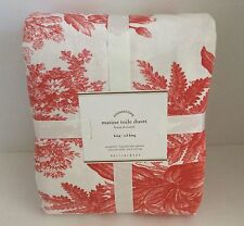 Pottery Barn Matine Toile King Cal King DUVET COVER ONLY Coral Desert Rose