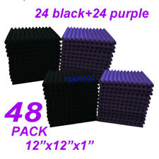 "12x12x1""48 Pack Black/purple Acoustic Wedge Studio Soundproofing Foam Wall Tiles"