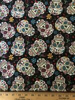 """Fabric  Fat Quarter  18""""x22""""  Quilting Sewing   FQ Cotton Skull ROSES Folklorico"""