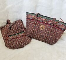 Vntg set of 2 V Vera Bradley Sling Backpack Vinyl Lining weekender carry all