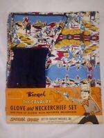 RARE 1958 7TH CALVARY GLOVES & NECKERCHIEF SET~MINT in BOX~w/MEMBERSHIP CARD~HTF