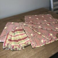 Tablecloth +4 Quilted Placemats Napkins Set Rose Bouquet French Country Cottage